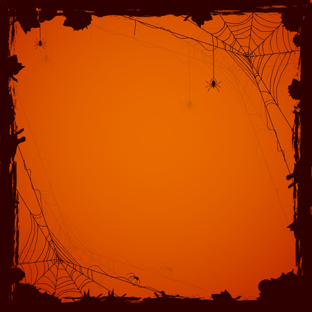 Grunge Halloween background with black spiders, illustration.
