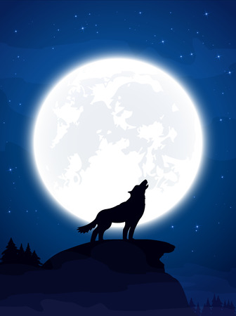 Halloween theme, night background with wolf and Moon, illustration.