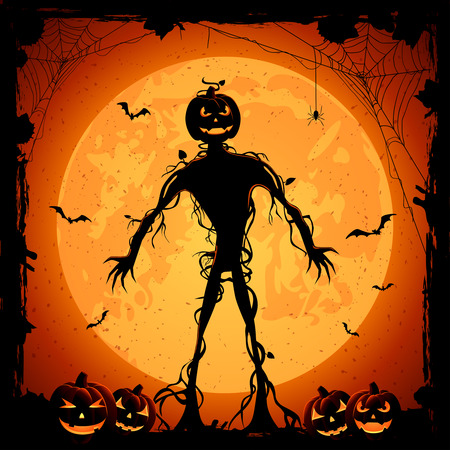 Halloween night background with full Moon, monster and pumpkins, illustration. Vector