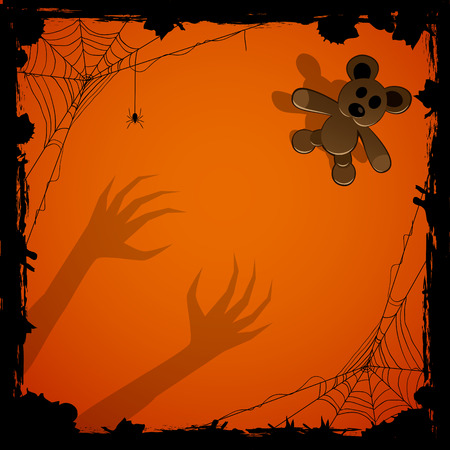 terrible: Halloween night background with terrible hands and toy, illustration. Illustration