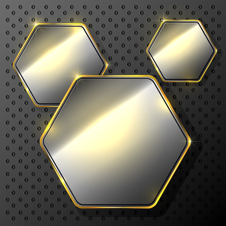 Abstract metallic background with set of hexagons, illustration. Vector