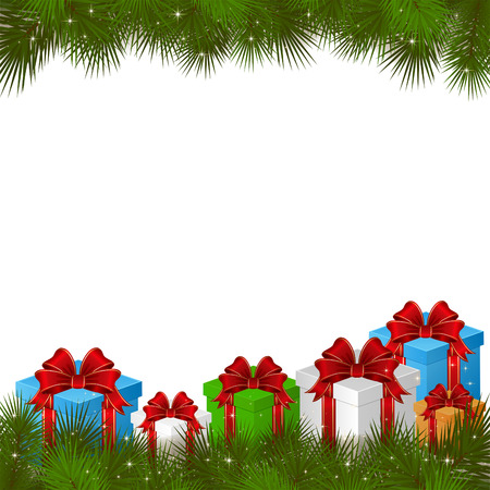 Background with gift boxes and branches of Christmas tree, illustration. Vector