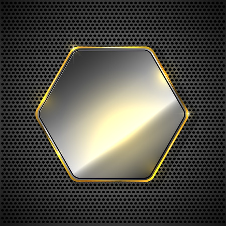Abstract background with metallic hexagon on grid, illustration. Vector