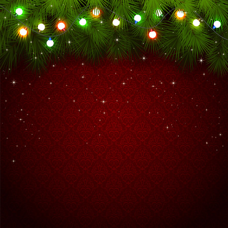 Red wallpaper with branches of Christmas tree and colored light bulbs, illustration. Vector