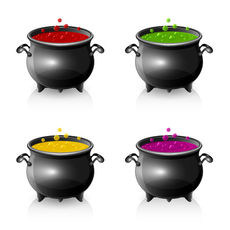 wicked set: Set of Halloween witches cauldrons with potion, illustration.