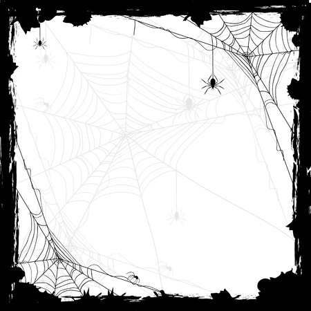 spider web: Halloween abstract background with black spiders, illustration.