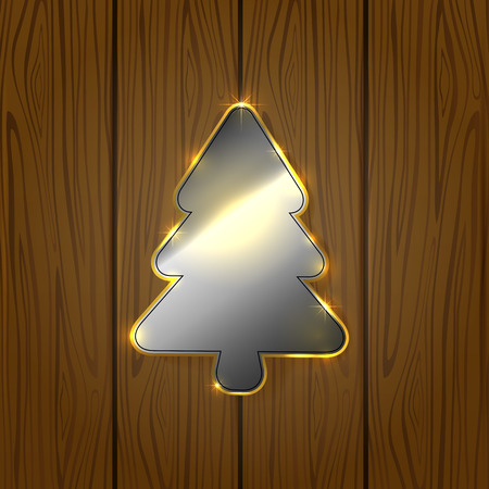 Wooden background with metallic Christmas tree, illustration. Vector