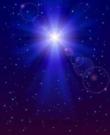 stelle blu: Stella di Natale nel buio cielo blu notte, illustrazione. Vettoriali