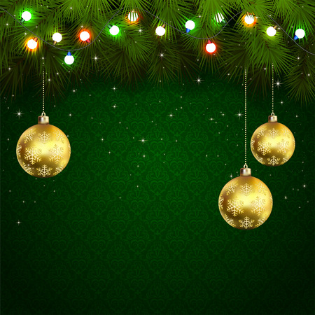 Green wallpaper with branches of Christmas tree, baubles and colored light bulbs, illustration. Vector