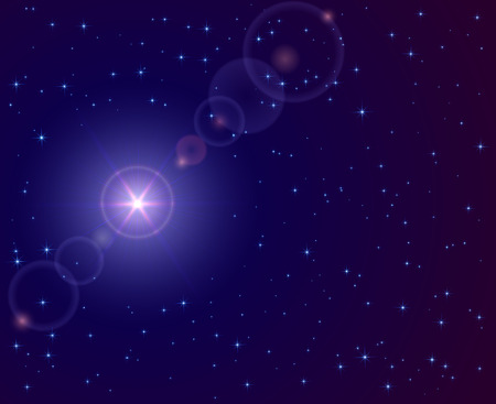 Christmas star in the dark sky, illustration. Vector