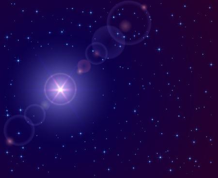 Christmas star in the dark sky, illustration.