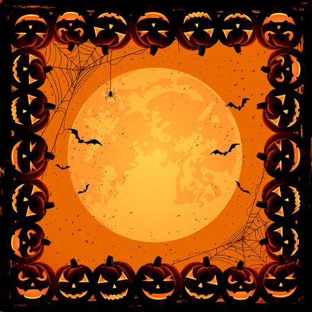 Halloween night background with Moon, spiders and frame from Jack O Vector