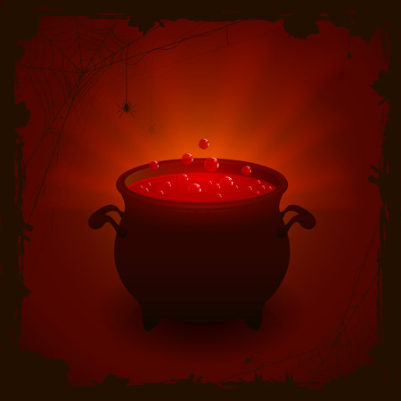 cauldron: Halloween witches cauldron with red potion on dark background, illustration.