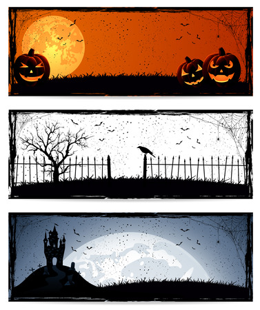 Set of three banners with Halloween decoration, illustration. Vector