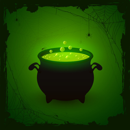 wicked witch: Halloween witches cauldron with green potion and spiders on dark background, illustration.