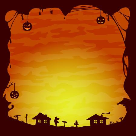 gloomy: Orange Halloween background, gloomy landscape with houses, illustration.