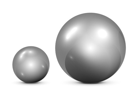 Two metallic spheres on white background, illustration. Vector