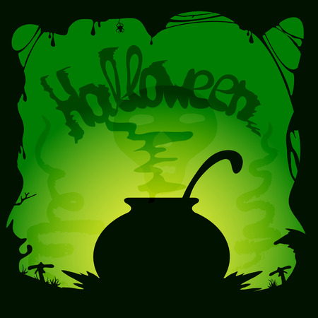 wicked witch: Green Halloween background with witches cauldron, illustration. Illustration