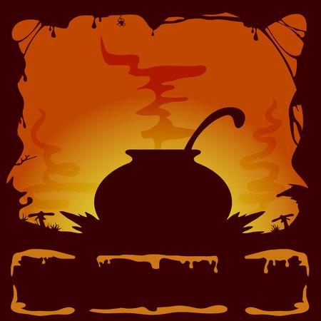 all saints day: Orange Halloween background with witches cauldron, illustration.