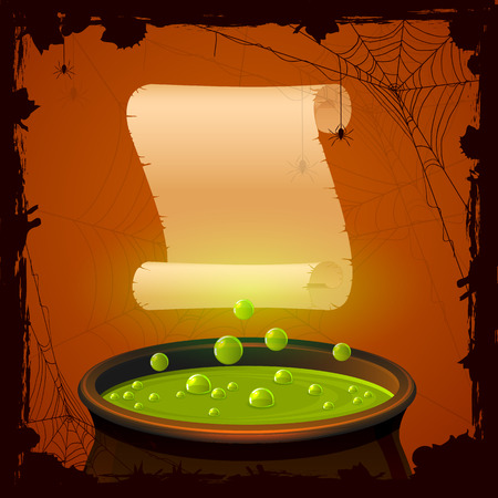 Halloween background with witches cauldron and paper, illustration. Vector