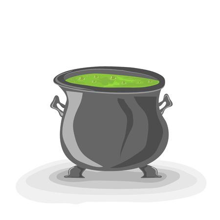 pocion: Halloween de brujas caldero con la poción verde sobre fondo blanco, ilustración. Vectores