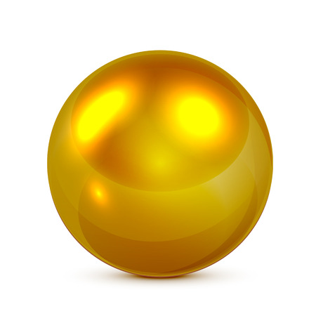 Golden sphere isolated on white background, illustration. Vector