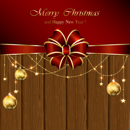 estrellas de navidad: Fondo de madera con adornos de Navidad y arco rojo, ilustración. Vectores