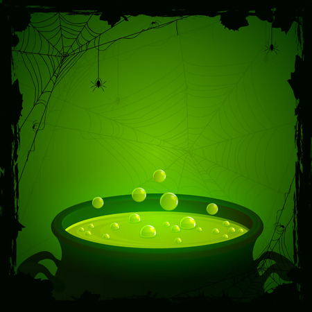 Halloween background, witches cauldron with green potion and spiders, illustration.