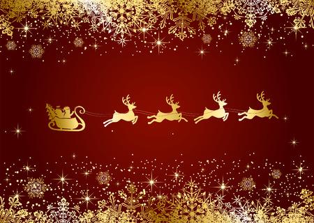 renos de navidad: Fondo rojo de la Navidad con Papá Noel y copos de nieve, ilustración.