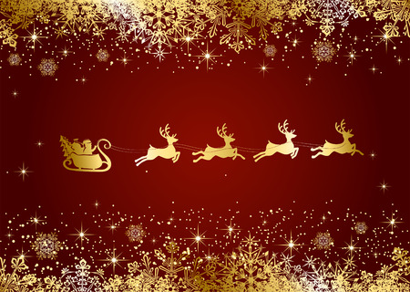 glitters: Red Christmas background with Santa and snowflakes, illustration.