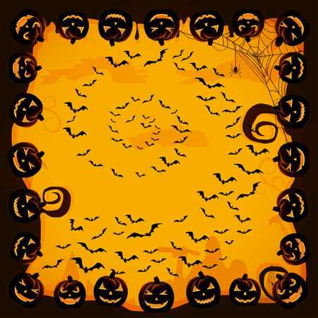 Halloween night background with bats and pumpkins, illustration. Vector