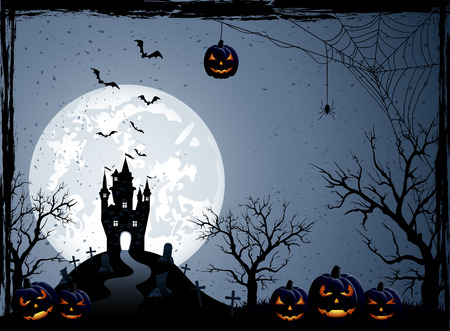 Halloween night background with castle, cemetery and pumpkins, illustration.