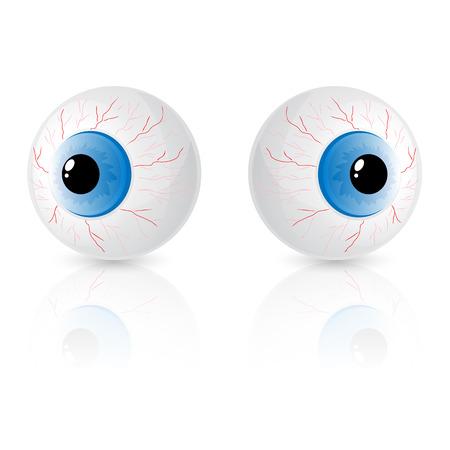 Two eyes isolated on white background, illustration.