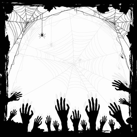 spider web: Halloween abstract background with black spiders and hands, illustration.