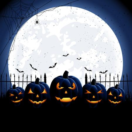 Halloween night with Moon and Jack O Vector