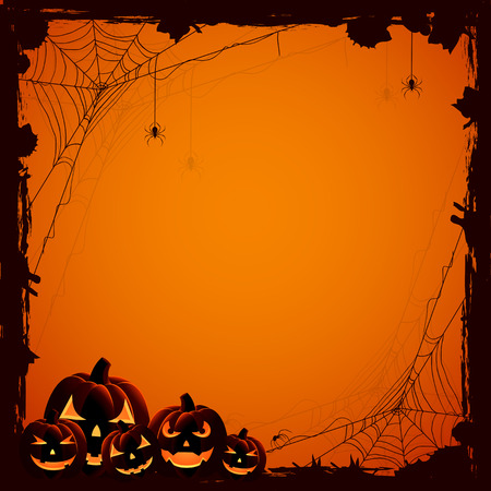 animal border: Grunge Halloween background with pumpkins and spiders, illustration.