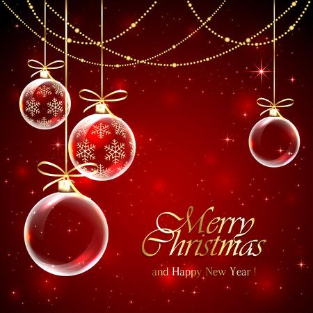 Červené pozadí s vánoční koule, dekorace a hvězdy, ilustrace. Ilustrace