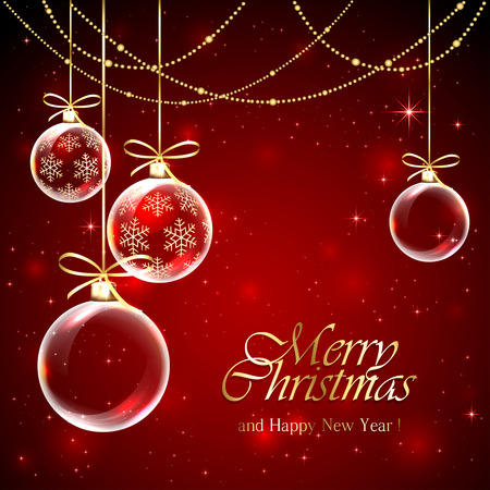 red background with christmas balls, decoration and stars illustration. 일러스트