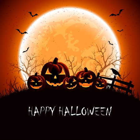 Halloween night background with full Moon and pumpkins, illustration. Vector
