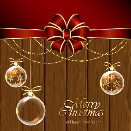 Wooden background with transparent Christmas balls and red bow, illustration. Vector