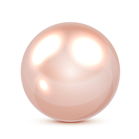 Pink pearl isolated on white background, illustration. Illustration