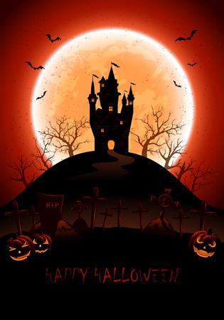 volle maan: Halloween nacht achtergrond met kasteel, begraafplaats en volle maan, illustratie. Stock Illustratie