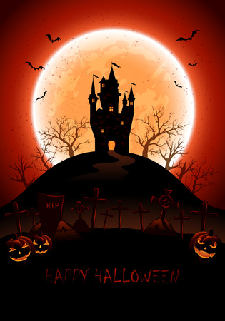 necropolis: Halloween night background with castle, cemetery and full moon, illustration.