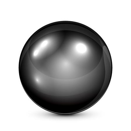 Black pearl isolated on white background, illustration. Ilustracja