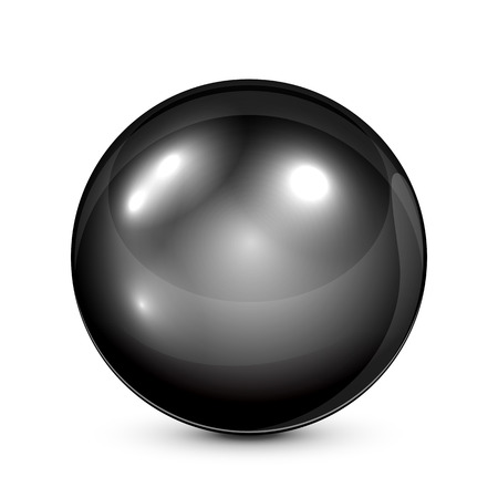 Black pearl isolated on white background, illustration. Vector