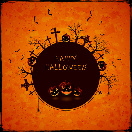 jack o lantern: Abstract Halloween background with cemetery, spiders and pumpkins, illustration.
