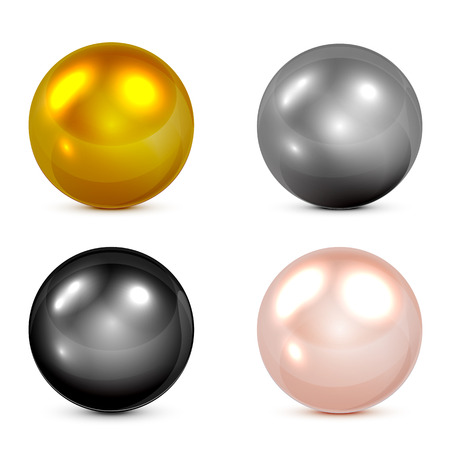 glossy icon: Set of metallic spheres and pearls isolated on white background, illustration.