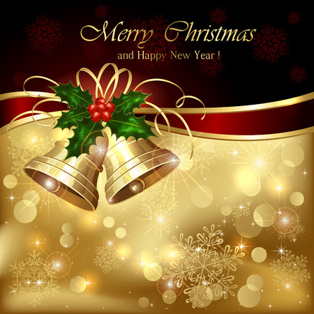 card background: Sfondo con campane di Natale d'oro, bacche di agrifoglio e orpello, illustrazione.
