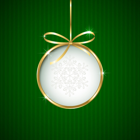 Green Christmas background with ball and golden ribbon, illustration.