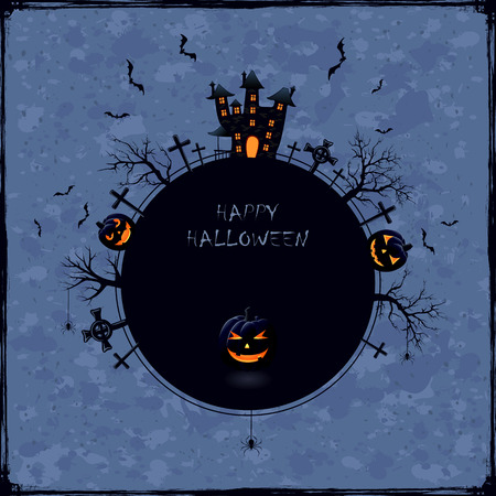 Blue Halloween background with castle, cemetery and pumpkins, illustration. Vector